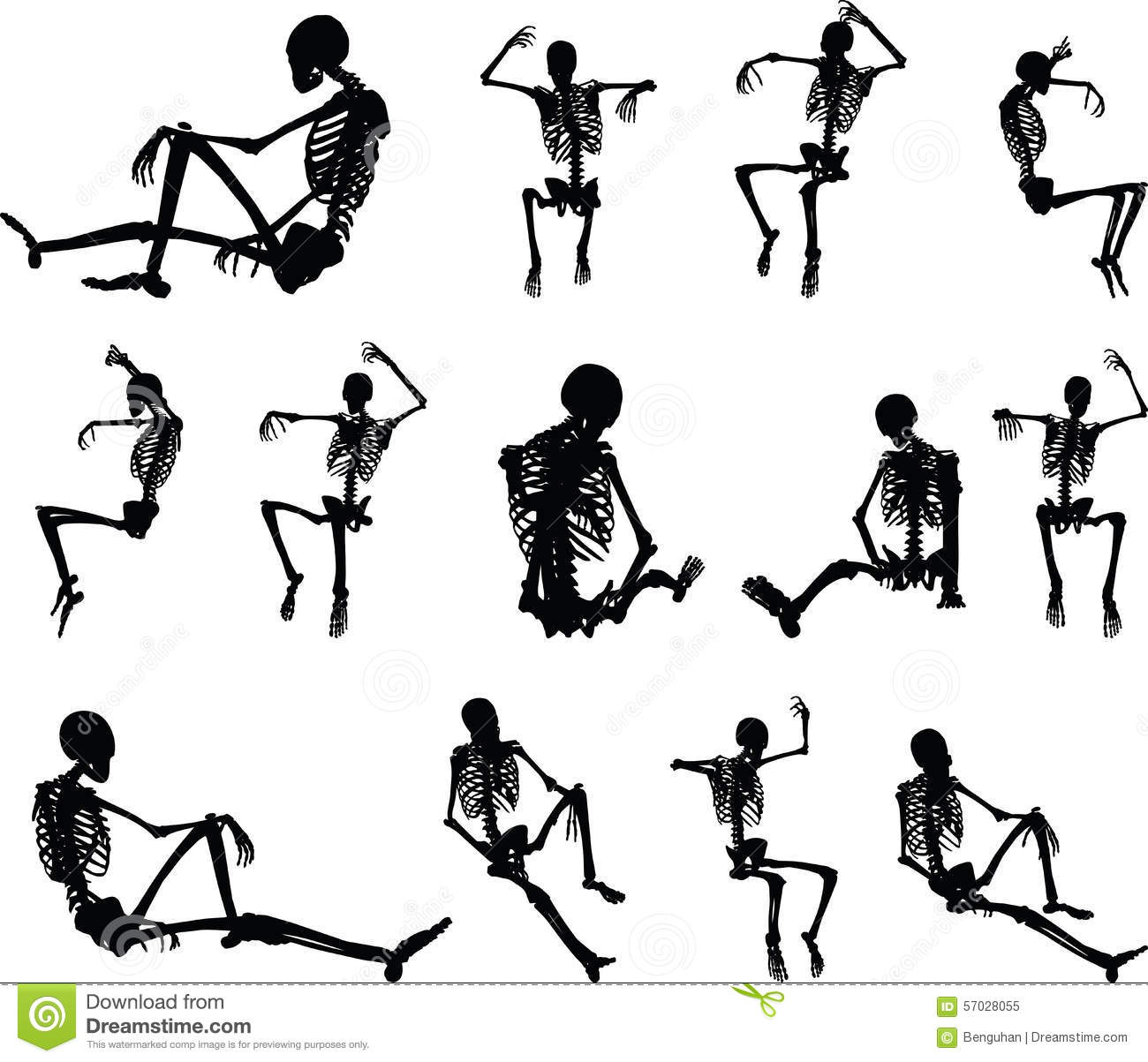 Skeleton Silhouette Clipart