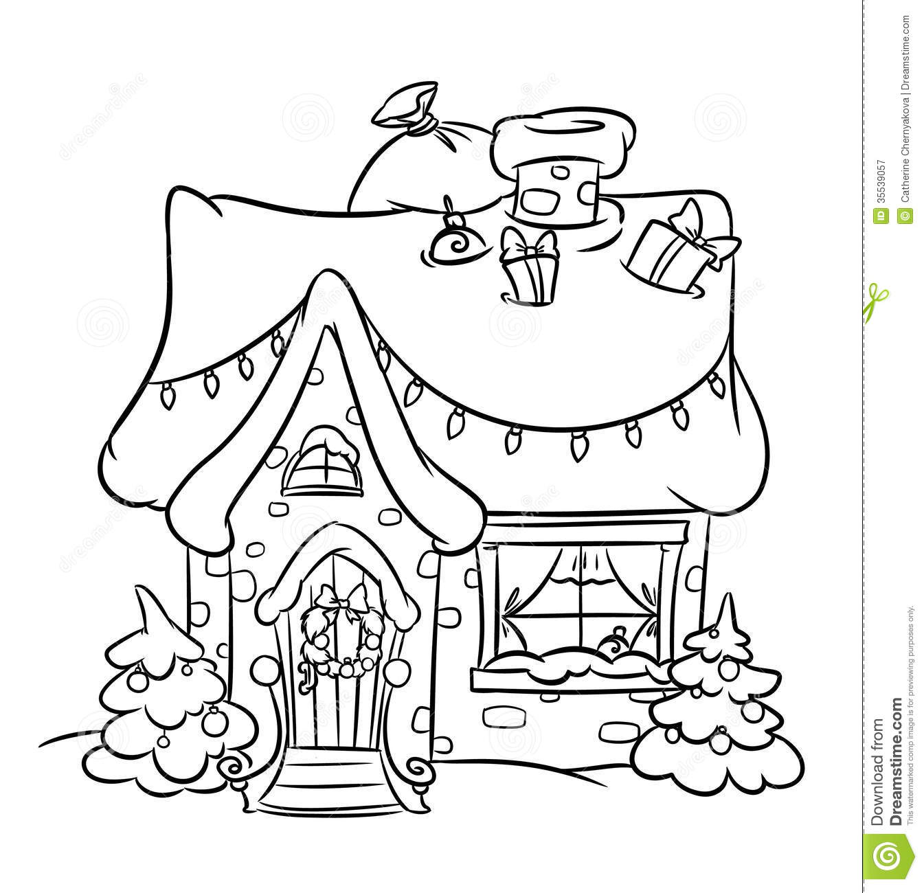 Snow House Black And White Clipart