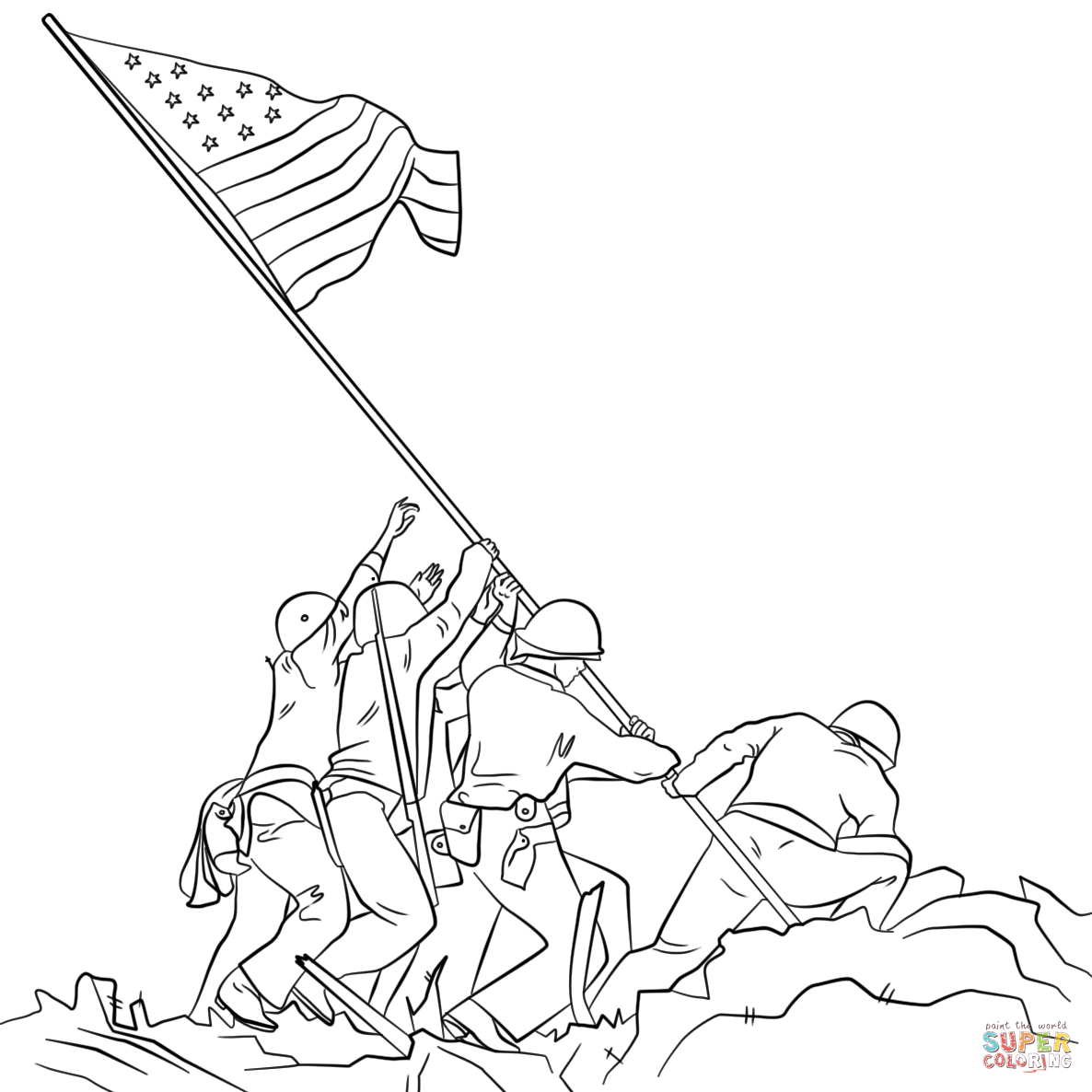 Sol Rs Putting Flag Up Drawing Clipart