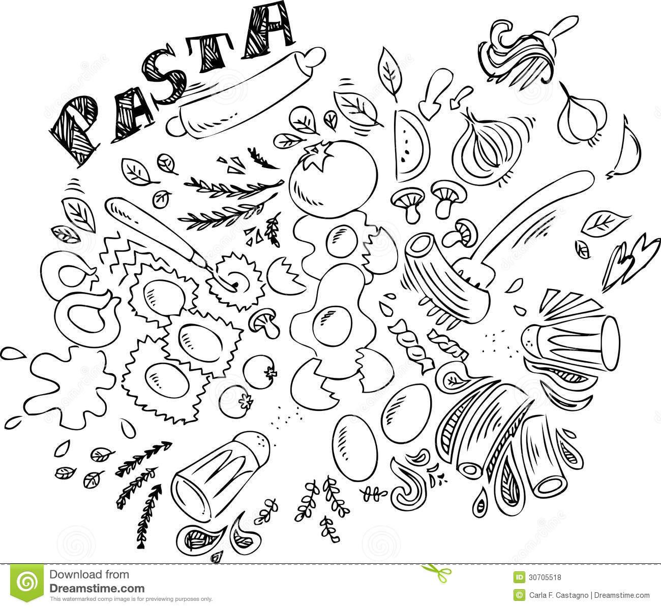 Spaghetti Food Clipart Black And White