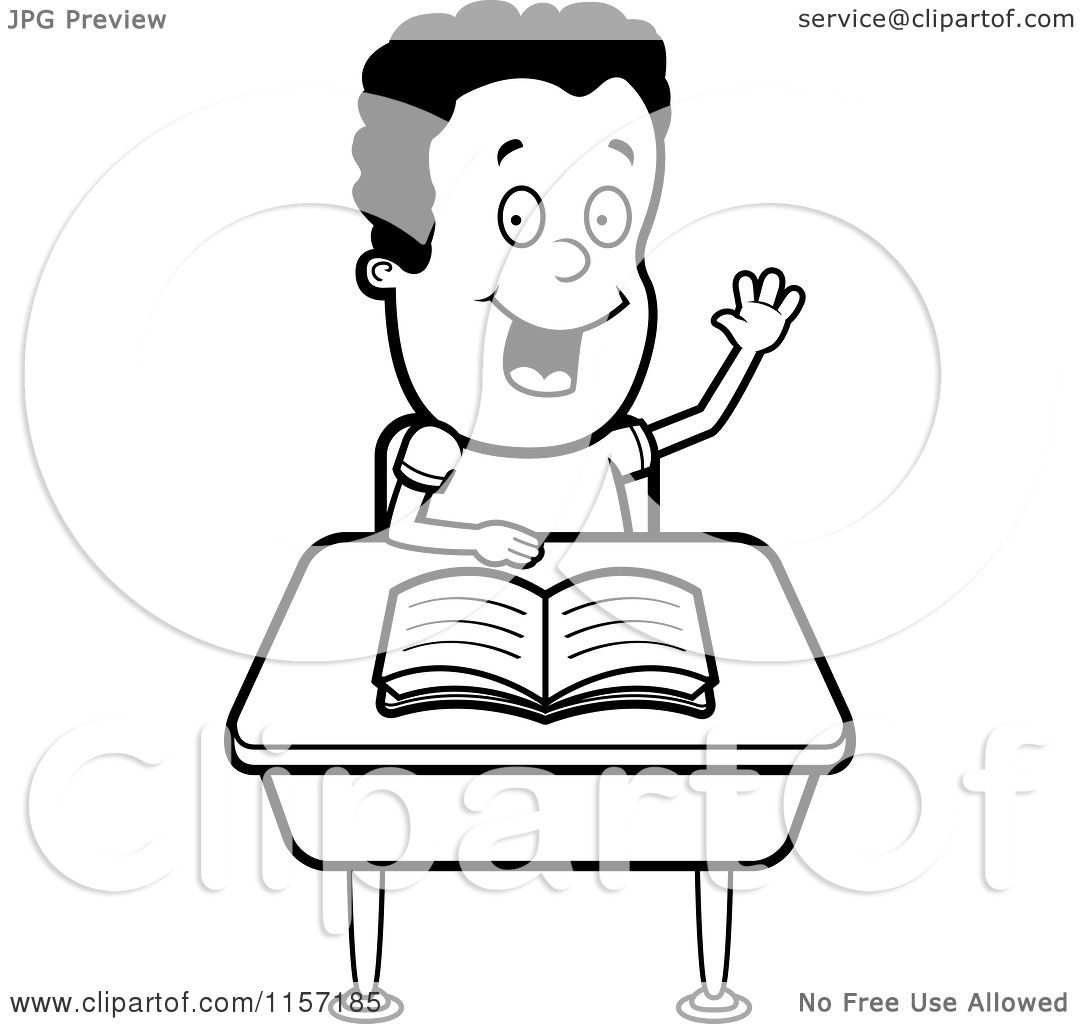 Student Raising Hand Clipart Black And White
