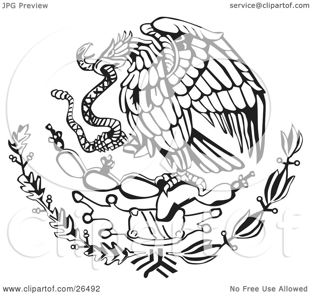 Symbols Of The Snake In The Mexican Flag Clipart