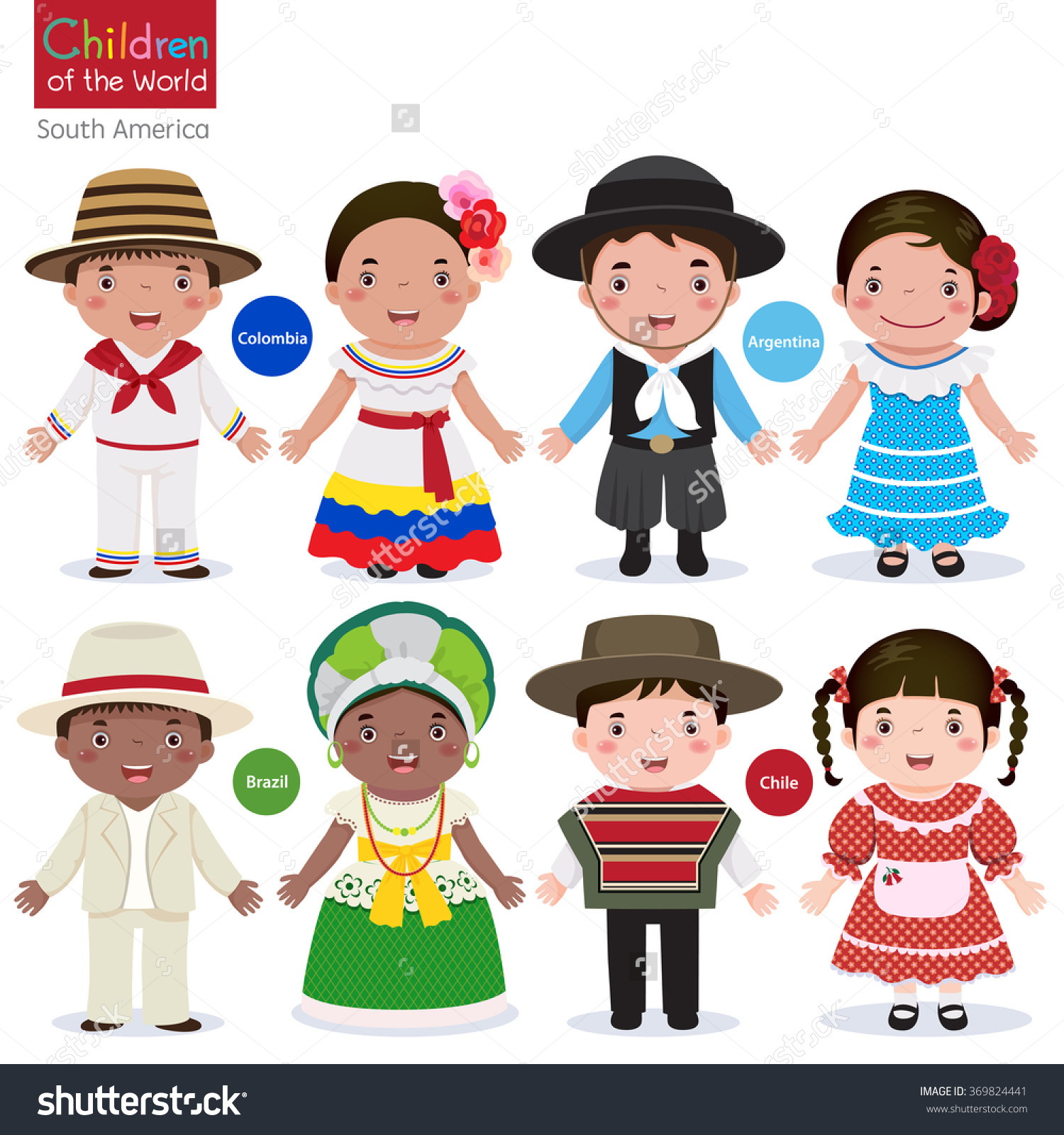 Traditional Colombian Family Clipart