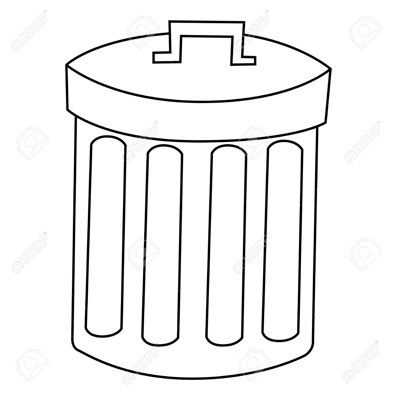 Trash Can Outline Clip Art