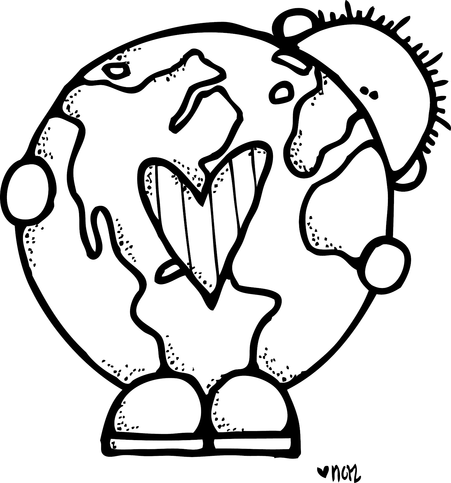 Earth Clipart For Kids Black And White