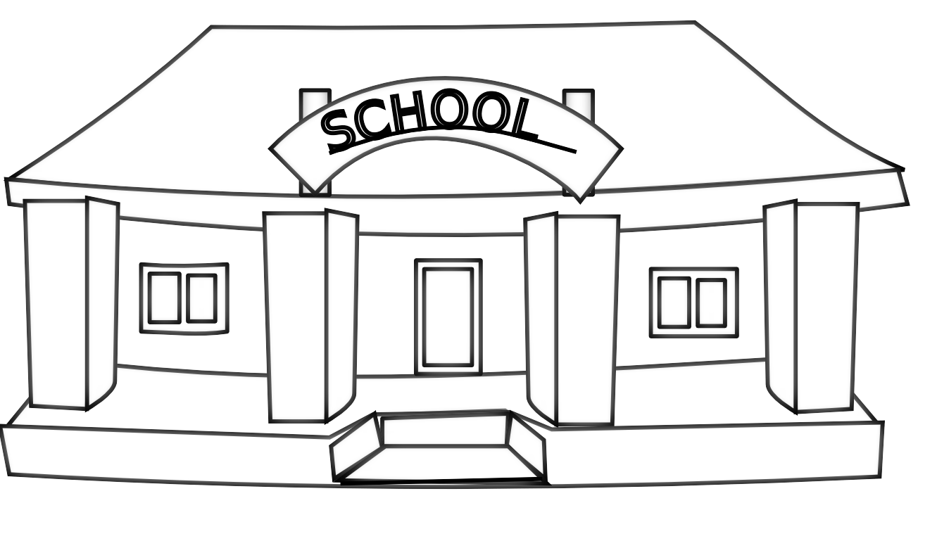 Clipart Black And White School Building