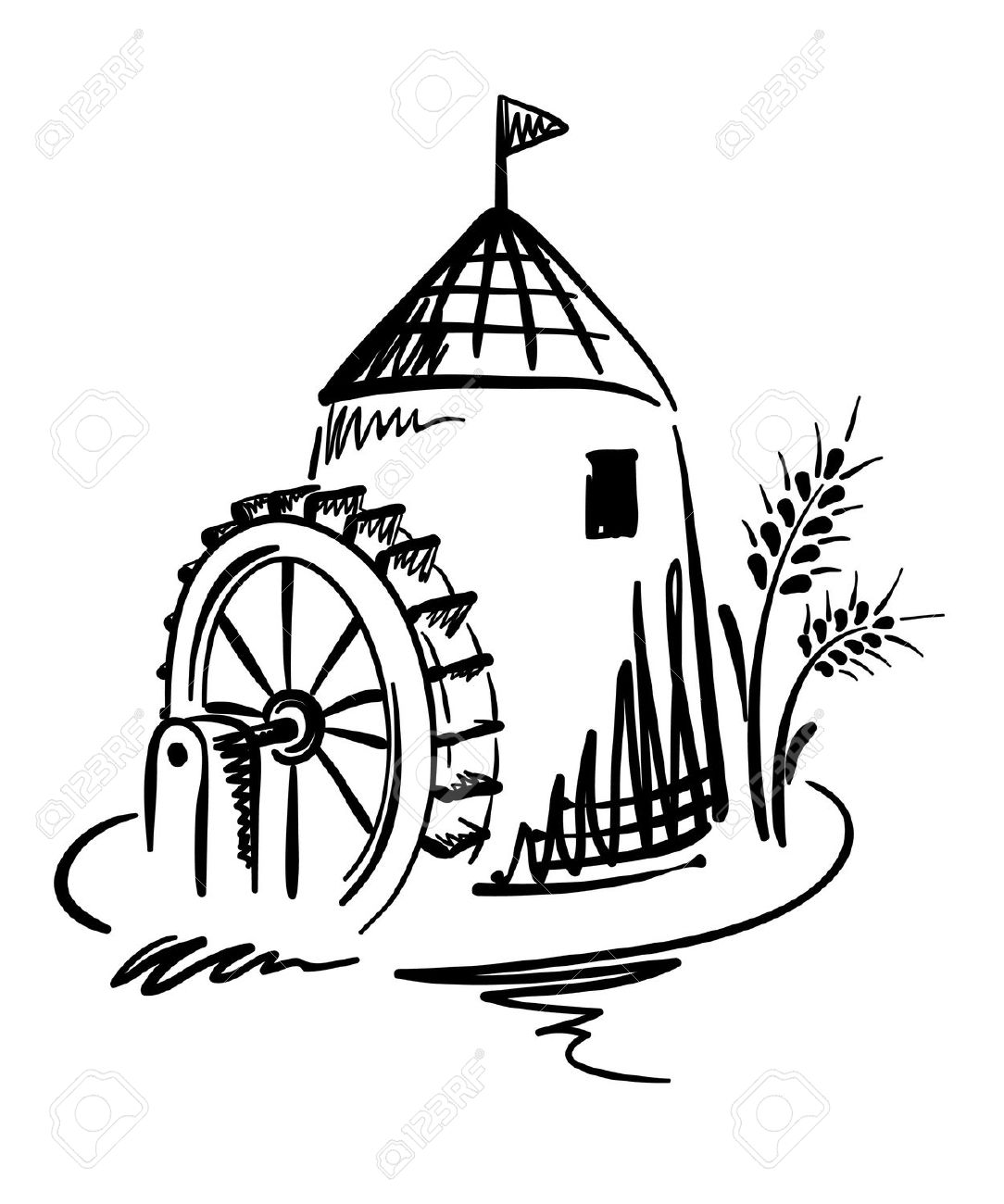 Water Mill Clipart
