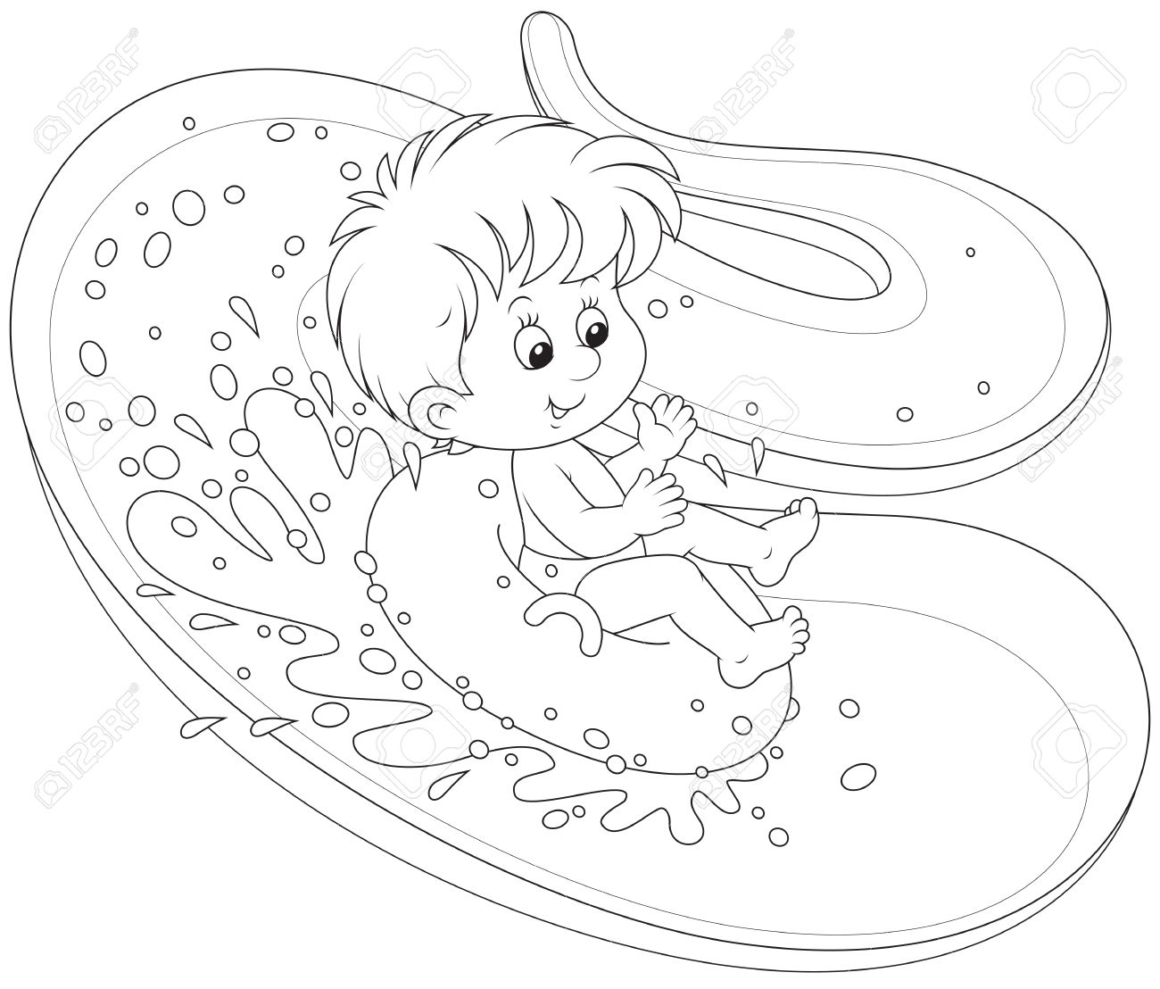 Water Slide Clipart Black And White