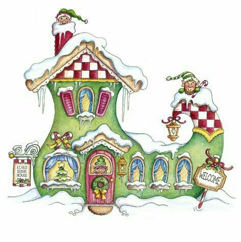 Whimsical Christmas House Clipart Clipground