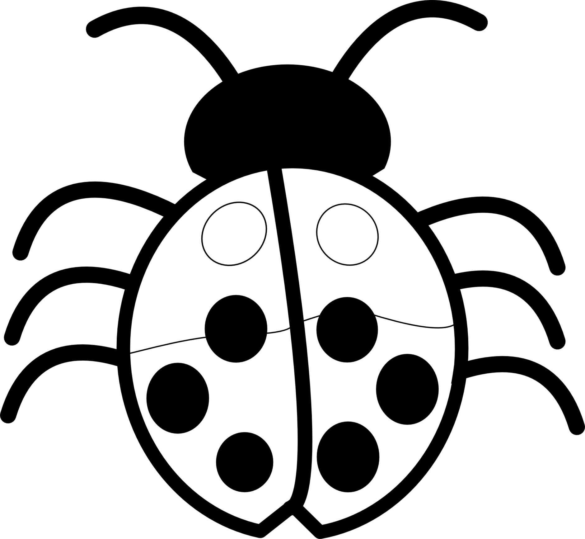 Bug Eye Smile Black And White Clipart