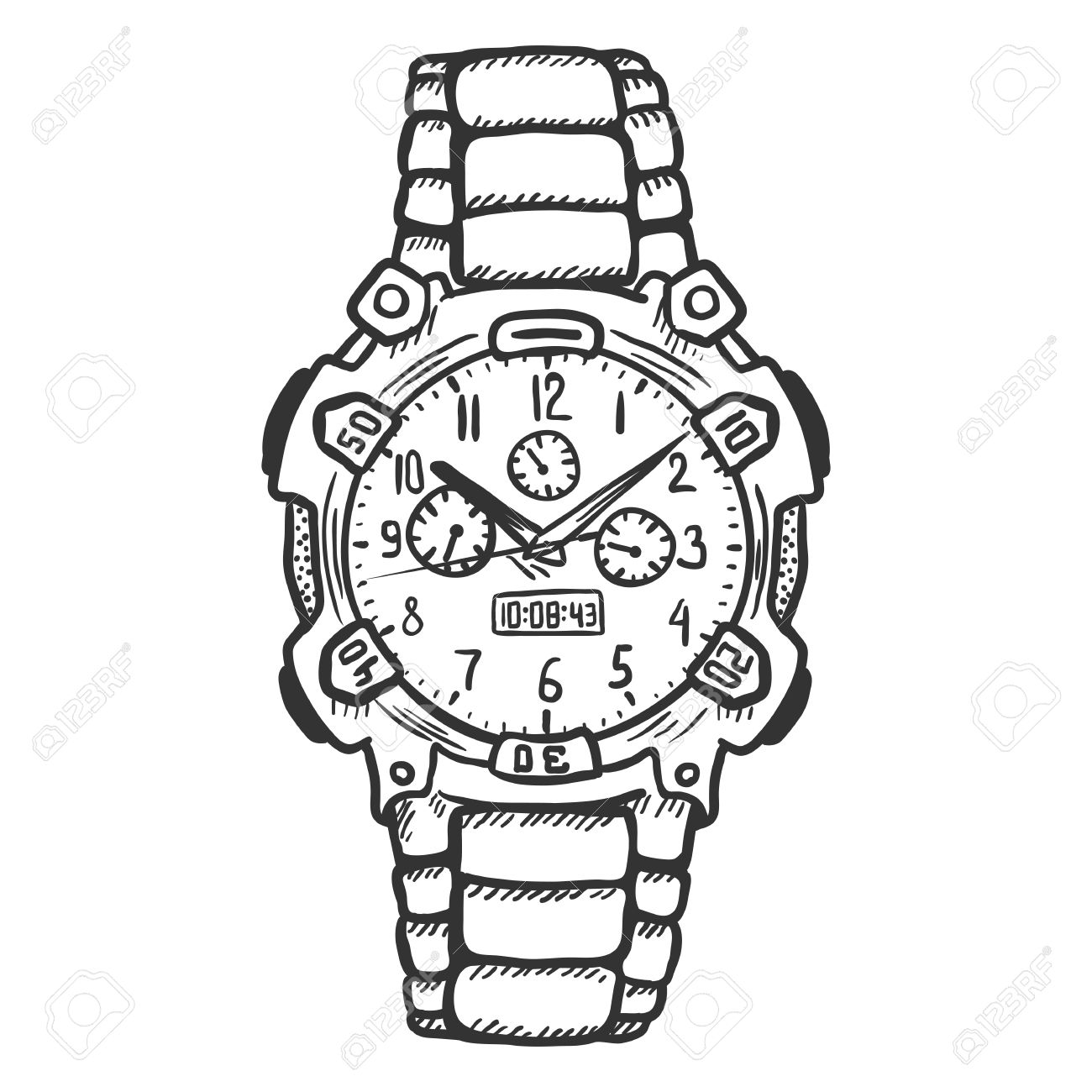 Wrist Watch Clipart Black And White