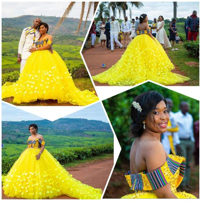 Venda Traditional Modern Dresses: Bride In Custom Yellow Venda Traditional Wedding Gown