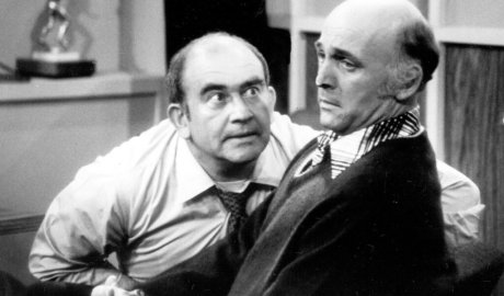 """Mr. MacLeod, right, played a humble TV news writer and Ed Asner played his gruff boss on """"The Mary Tyler Moore Show.""""Credit...Photofest"""