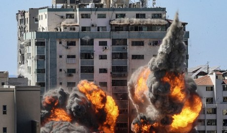 Israel targeted a large building in Gaza housing AP News and Al Jazeera offices [Getty]