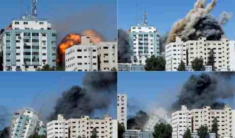 Combination picture shows the tower building housing AP and Al Jazeera offices collapsing. Photograph: Mohammed Salem/Reuters