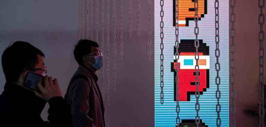 One of the world's first exhibitions of blockchain art – Virtual Niche: Have You Ever Seen Memes in the Mirror? – was held in Beijing in March. Photograph: Nicolas Asfouri/AFP/Getty