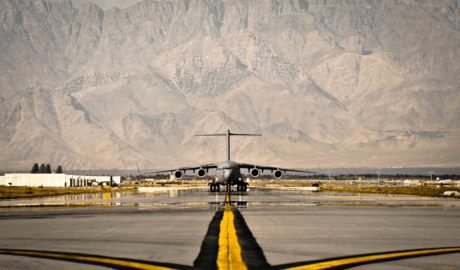 A U.S. Air Force C-17 Globemaster III cargo aircraft taxis to its parking spot Bagram Airfield, Afghanistan, Sept. 25, 2012. (Capt. Raymond Geoffroy/Air Force)