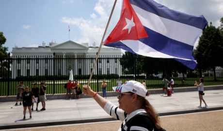 Cuban Americans demonstrate outside the White House in support of demonstrations taking place in Cuba on July 12, 2021 in Washington, DC. Win McNamee   Getty Images
