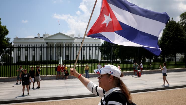 Cuban Americans demonstrate outside the White House in support of demonstrations taking place in Cuba on July 12, 2021 in Washington, DC. Win McNamee | Getty Images