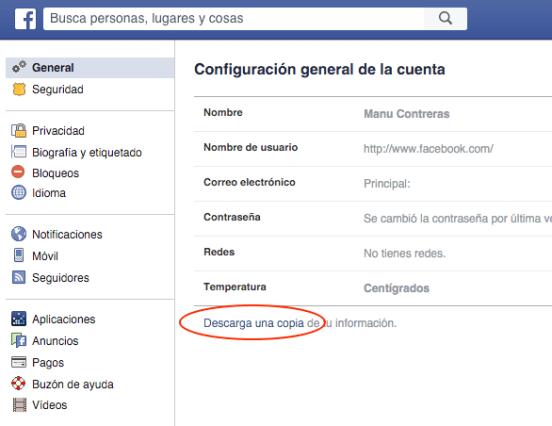 exportar facebook