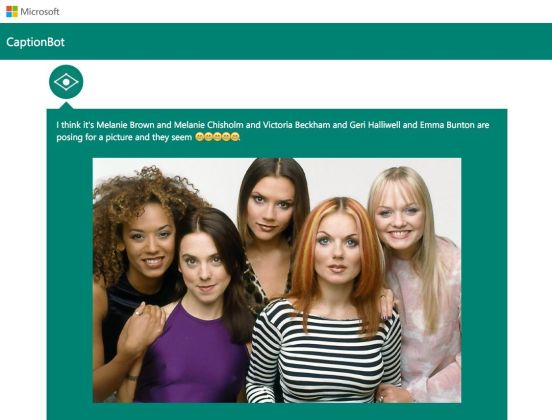 """CaptionBot: """"Creo que es Melanie Brown y Melanie Chisholm y Victoria Beckham y Geri Halliwell y Emma Bunton posando para una foto y parecen ?????"""""""