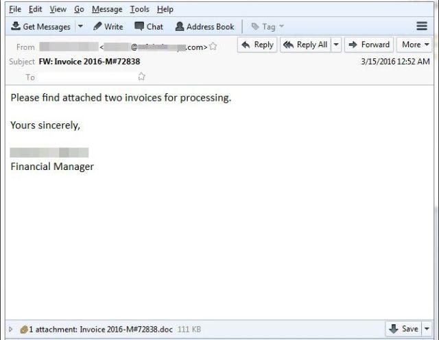 Correo electrónico cebo que se usa para descargar un archivo .doc que en realidad infecta tu ordenador con ransomware.