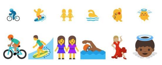 Los emojis de Android antes (arriba) y después (abajo)