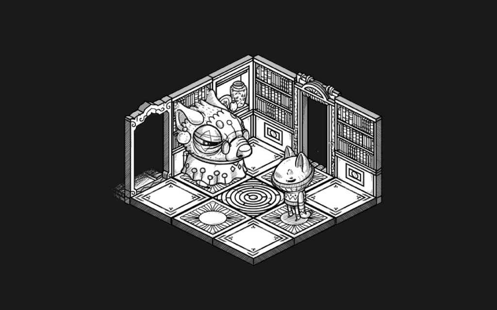 Illustrated creatures in a library in Oquonie
