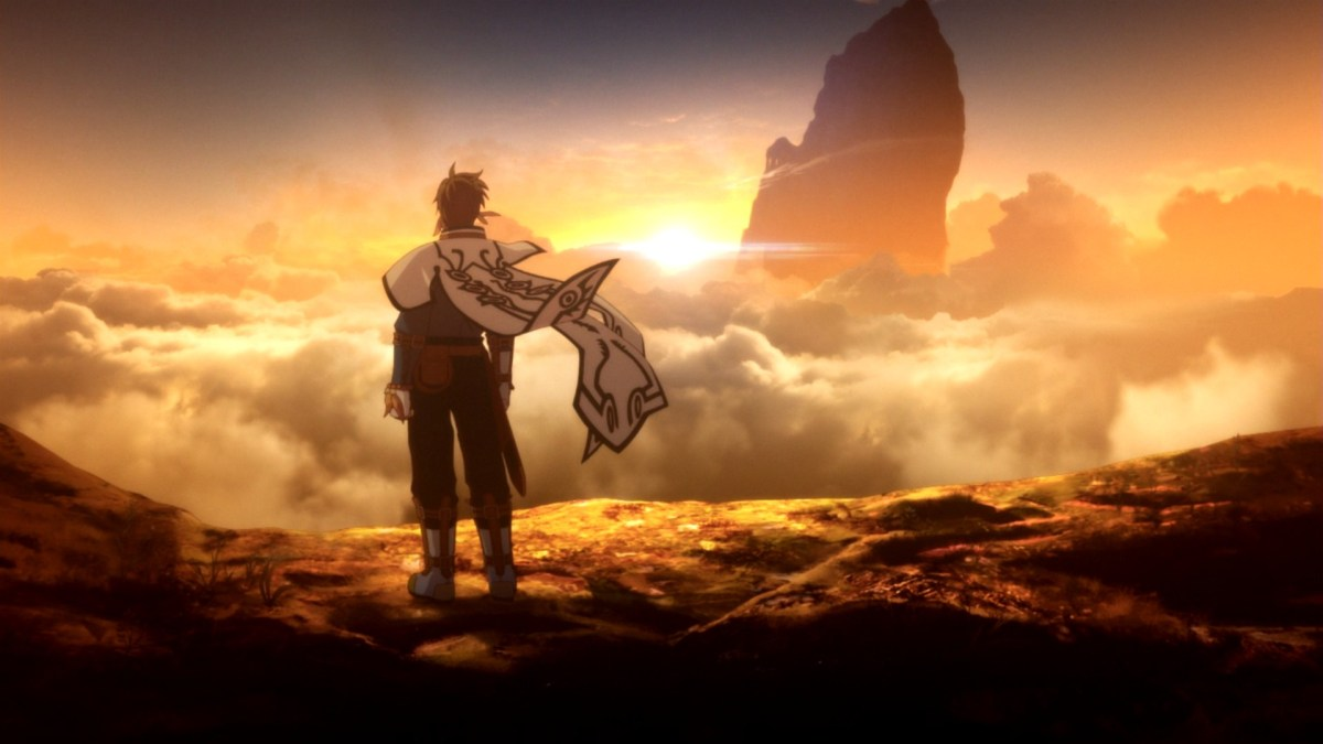 A lone warrior atop of a rocky mountain, looking out at a golden sunset in Tales of Zestiria