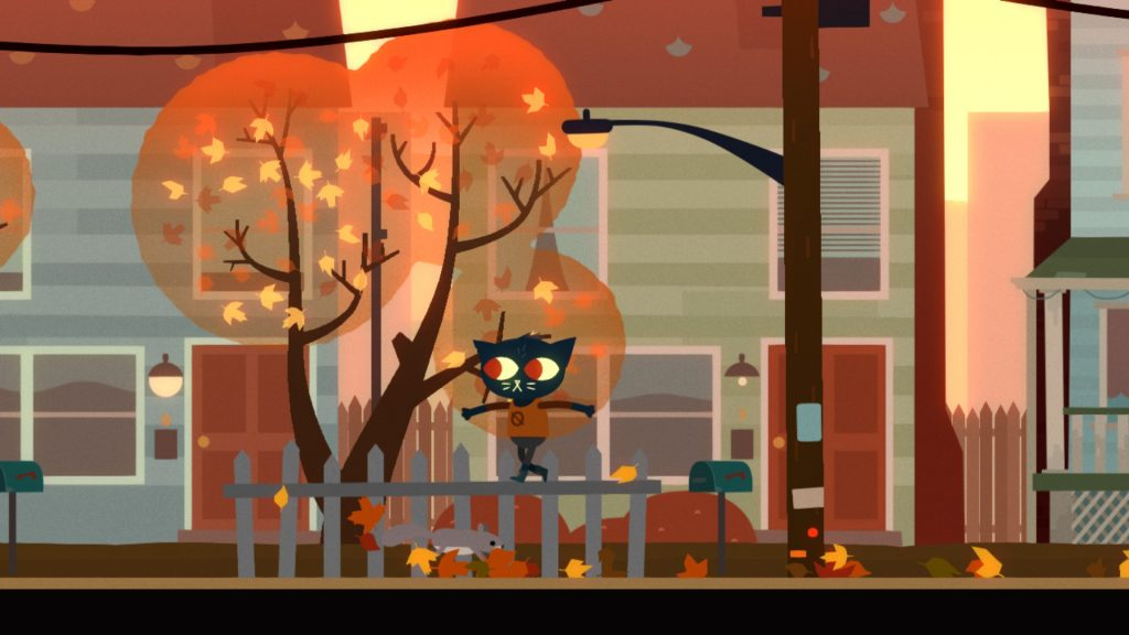 Anthropomorphic cat, Mae, walking on a fence in front of her house in Night in the Woods