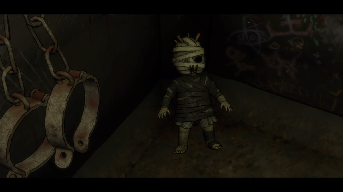 A dingy, mummified doll in a creepy cell in Batman
