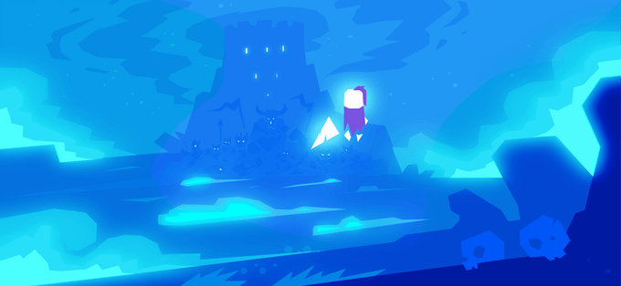 Art from Knight Time, featuring the main character against a midnight blue background. He is gazing at a castle in the distance.