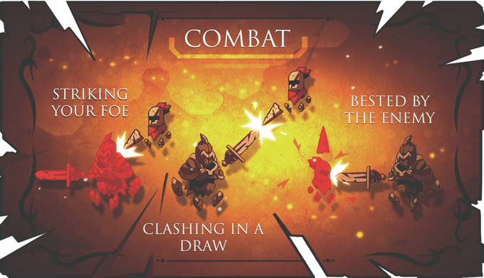 A diagram demonstrating Knight Time's combat mechanics. Players must attempt to strike the enemy with their weapon while avoiding the enemy's weapon. A clash of weapons ill result in a parry.