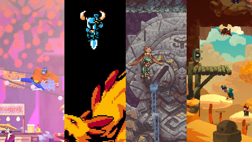 images of the games Guacamelee!, Shovel Knight, Owlboy, and Aegis Defenders