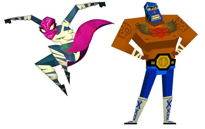 a female luchadore and a male luchadore