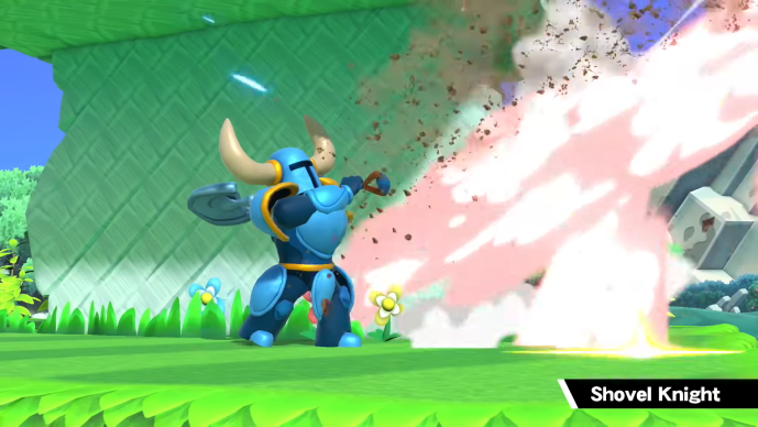 Shovel Knight blasting Wario off into space