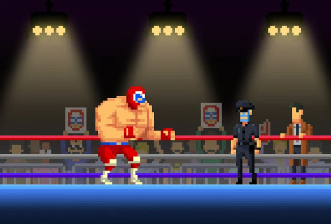 Pixelated and masked officer on a stage with a masked wrestler, while a detective watches on the sidelines.