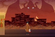 Pixelated detective on roof in a dark city, with shadow of a winged monster in the background.