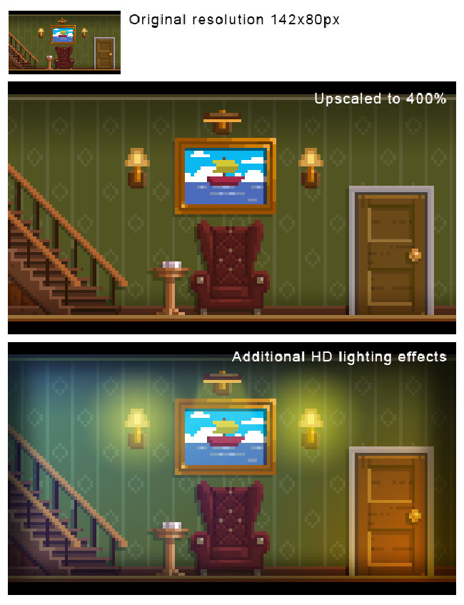 "Step-by-step breakdown of how art is made in ""The Darkside Detective,"" using the example of making a room."