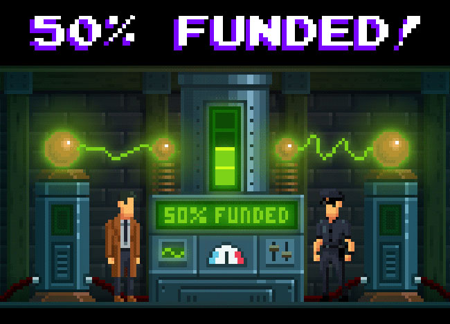 "Image of Detective McQueen and Officer Dooley in some sort of lab, captioned with ""50% FUNDED!"""