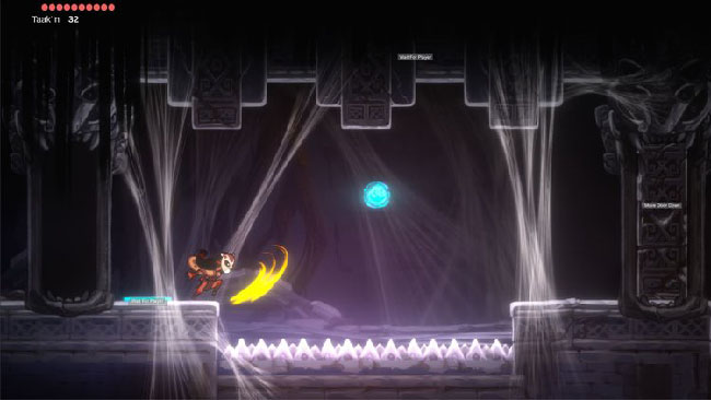 "Screenshot of  ""Balam and the Spirit Within"" gameplay. Balam, girl in jaguar mask, is in a dark room, near a floor of spikes."