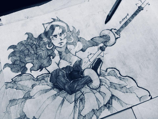 Black and white drawing of one of the fighting game characters, Oria, based on real-life figure Gregoria Alvarez De Jesus. The drawing shows a woman with long hair held back by a bandanna, wielding a staff-type weapon.