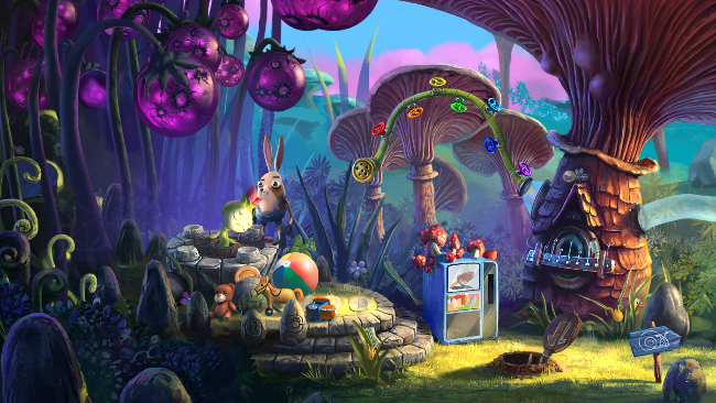 "Colorful and intricate ""My Brother Rabbit"" screenshot, of a rabbit (player character) with his sick plant friend."
