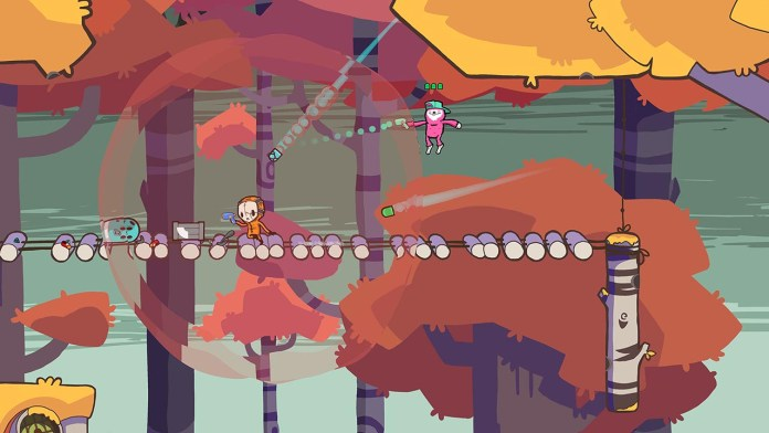 """Retimed"" screenshot of three colorful characters shooting at each other in a forest."