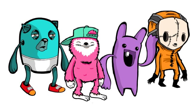 Playable characters from Retimed--a grumpy blue bear-like creature in his underwear, a smiling pink Yeti in a baseball cap, a purple bunny-like creature with long bendy arms, and a humanoid creature in an orange jumpsuit with a spooky emotionless-looking mask on.