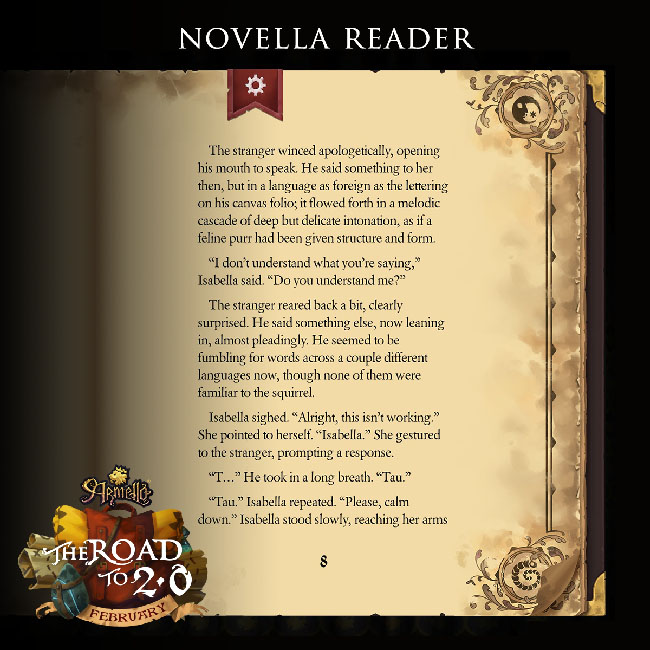 "Screenshot of novella reader in ""Armello,"" featuring the image of a book page with text for a story excerpt."
