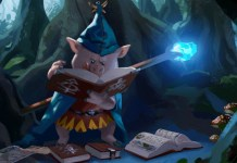 Illustration of an anthropomorphic pig wizard reading books in a forest.