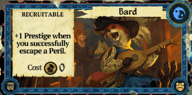 "Image of one of the cards that can be played in ""Armello."" It shows an anthropomorphic fox musician."