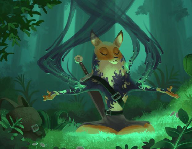 "An ""Armello"" illustration from a card played during the game. Features an anthropomorphic fox being cleansed of a dark material."