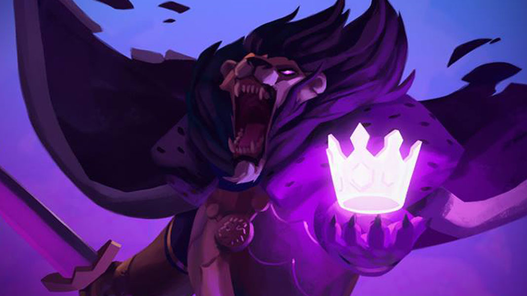 """Armello"" illustration, featuring an anthropomorphic lion king with a sword. A glowing, somewhat transparent, slightly purple crown floats in his other clawed paw."